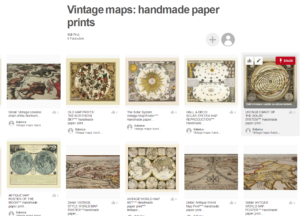 Antique map reproductions printed on a handmade paper.