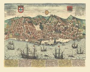 vintage map reproduction lisboa