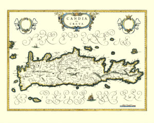 vintage map reproduction of crete