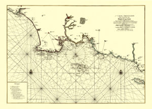 old nautical map of southern brittany