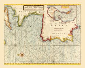 old nautical map atlantic