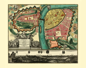 prague antique map reproduction