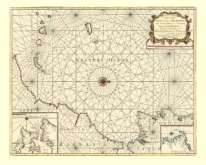 old nautical map of atlantic
