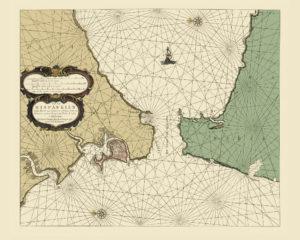 old nautical map gibraltar