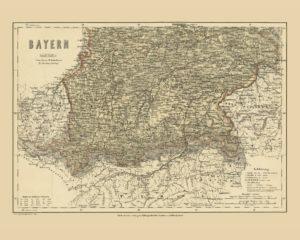 bayern bavaria vintage map