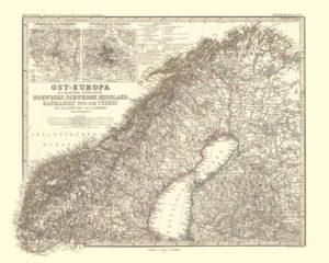 map art: map reproduction of scandinavia