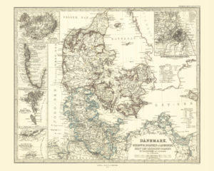 map decor: vintage map reproduction of denmark
