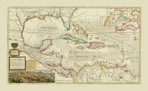 vintage map reproductions caribbean