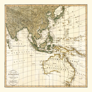 vintage map reproduction australia south east asia
