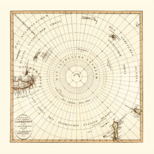 antarctica vintage map reproduction