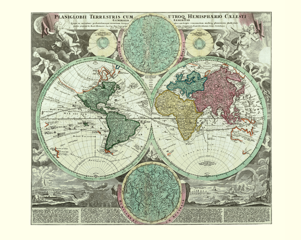 Kobeica blog vintage map reproductions beauty on your wall 3 world old map poster 1720 sciox Choice Image