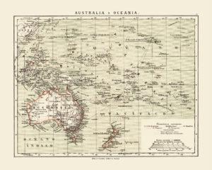 australia ocenani vintage map poster